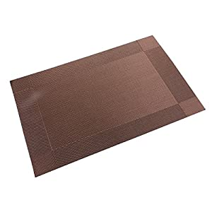 Sealike Solid Color Pvc Placemat Waterproof Nonslip Table Mat Set Of 4 With Stylus Coffee