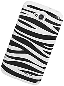 Eagle Cell Hybrid Skin Hard Case Cover for LG L70/Ultimate 2 L41C/Exceed 2/Realm - Retail Packaging - Black/White Zebra