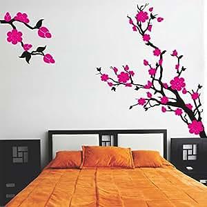 DeStudio Floral Branch Chalkboard Wall Decal, Size MEDIUM & Color : PINK