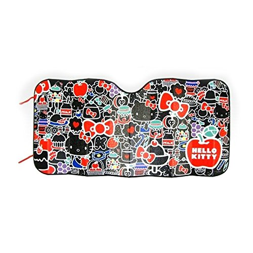 Sanrio-Hello-Kitty-Car-Windshied-Sunshade-Compact-Strawberry-Black-Kitty