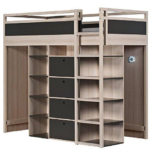 hochbett etagenbett indiana akazie grafit stockbett mit regalen und schubladen. Black Bedroom Furniture Sets. Home Design Ideas