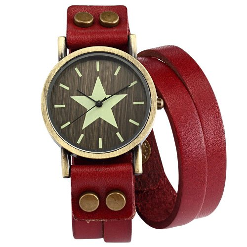 AMPM24 Lady Women Wrap Double Red Strap Bracelet Long Wrist Band Quartz Watch WAA404