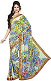 Mahamayamaya Women's Georgette Saree with Blouse Piece (Multi-Coloured)