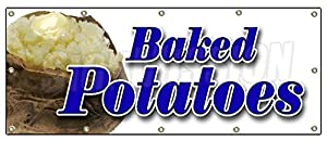 """48""""x120"""" BAKED POTATOES BANNER SIGN signs stand concession Idaho stuffed hot"""