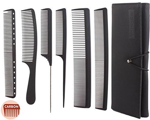 Lot de 6 peignes de coiffeur professionnels, lot de peignes de salon de coiffure, lot de peignes en carbone