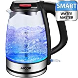 Aicok Electric Kettle SpeedBoil 1500W BPA-Free Glass Tea Kettle, Cordless Kettle with Auto Shut-Off and Boil-Dry Protection(FDA Certified/UL Approved)