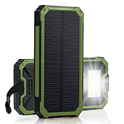 [15000mah Solar Panel Charger with 6LED Flashlight] Hallomall Portable Phone Charger Backup Power Pack, Dual USB Port External Battery Charger for Smart phones Camera and Other 5V USB Devices (green)
