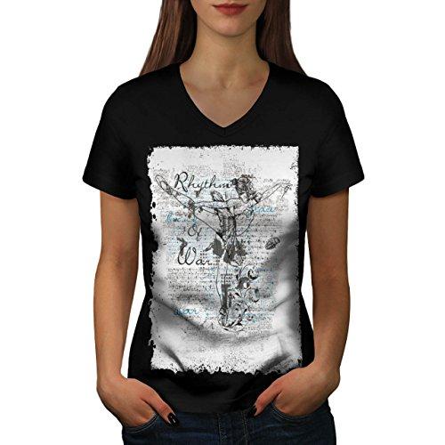 [Rythym Of War Dancer Balance Women NEW Black S V-Neck T-shirt | Wellcoda] (Salsa Dancer Outfit)