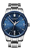 Victorinox 241711 Men's Swiss Army Stainless Steel Case and Bracelet Blue Dial Silver Watch
