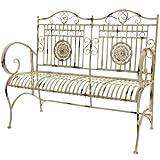 Oriental Furniture Rustic Metal Garden Bench, Distressed White