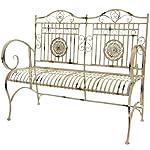 Oriental Furniture Rustic Metal Garden Bench - Distressed White