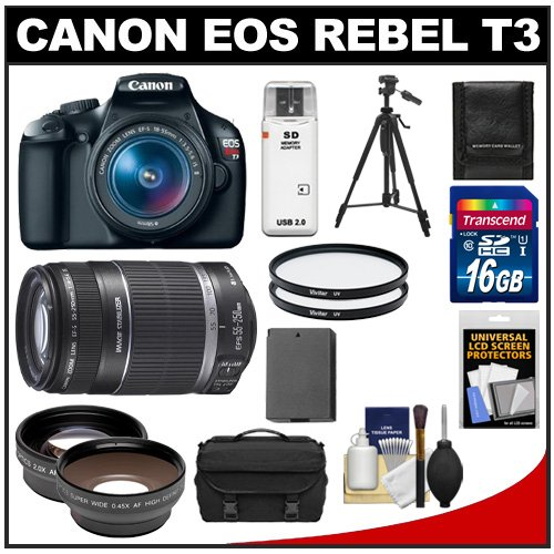 Canon EOS Rebel T3 Digital SLR Camera Body & EF-S 18-55mm IS II Lens with 55-250mm IS Lens + 16GB Card + .45x Wide Angle & 2x Telephoto Lenses + Battery + (2) Filters + Tripod + Accessory Kit