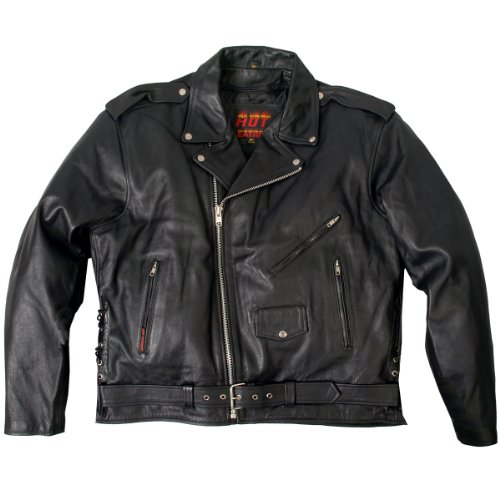 Hot Leathers Classic Motorcycle Jacket with Zip Out Lining (Black, Size 38)