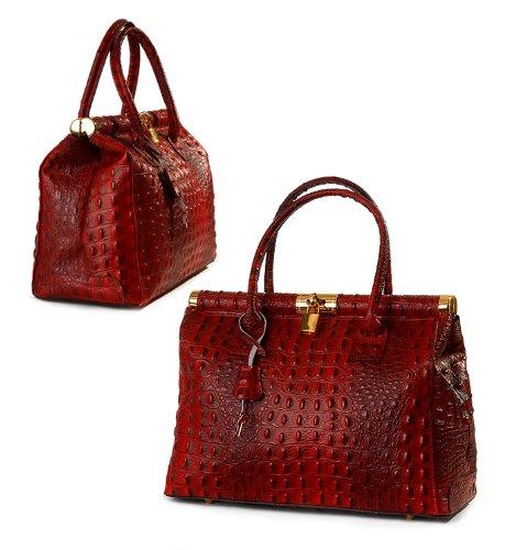 Erschwingliche ital Leder Kult Henkeltasche Handtasche elegant edel bordeaux rot Kroko, 33x27x15 cm (B x H x T)