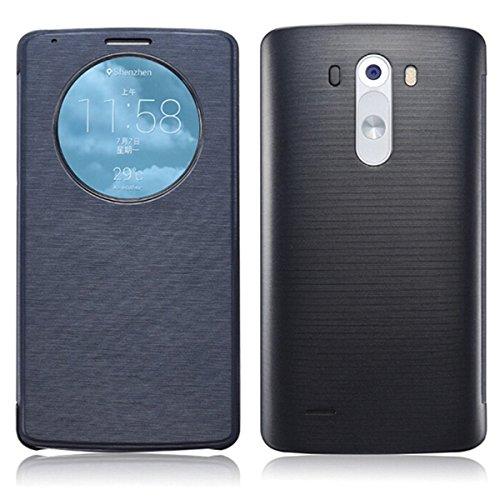 XCSOURCE Nero Quick Circle Flip intelligente cellulari Caso Copertura Custodia protettiva Phone Case Cover Con NFC chip Per Smartphone LG G3 BC429