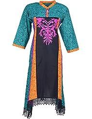 Elegant Cotton Women Kurta (24335 Ory, Green & Black, Free Size)