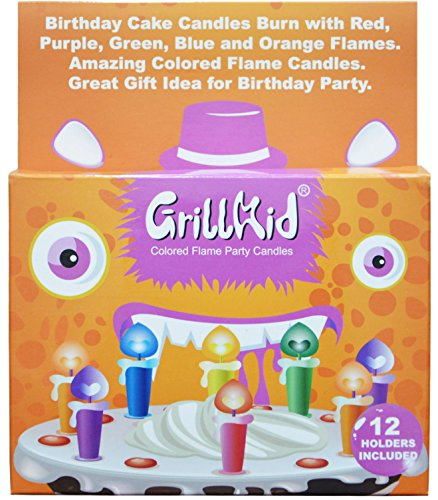 Grillkid Birthday Candles with Colored Flames (12 per box, holders included) (12, Medium)