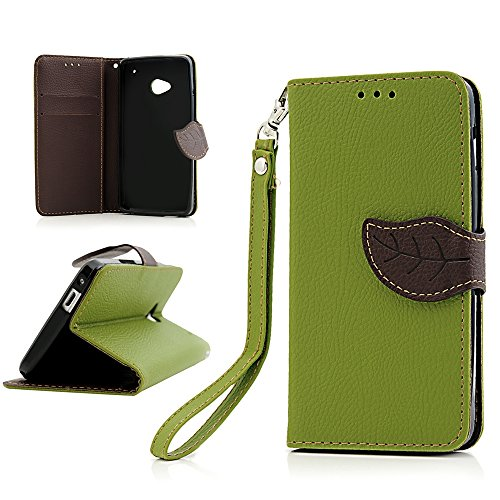 htc-one-m7-case-bestcool-flip-cover-handmade-standby-case-embossed-leather-leaves-buckle-green