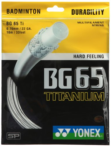 Yonex Titanium BG 65 Badminton Strings, 0.70mm (white)