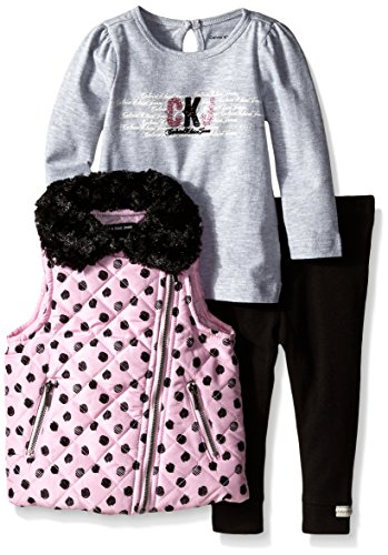 Calvin Klein Baby Girls' Pink Print Quilted Vest with Tee and Pants, Pink, 24 Months