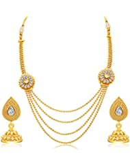 Sukkhi Gleaming Four String Gold Plated AD Necklace Set For Women