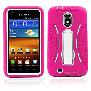 Premium Heavy Duty Hybrid Case (Outer Silicone + Inner Hard Protector Case w/ Kickstand) Galaxy S2 Sprint Samsung Epic Touch 4g (Model SGH D710) - Hot Pink and White (MagicMobile Charm Gratis)
