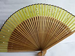TANG DYNASTY(TM) High Quality japanese Silk Handheld Fan Hand Fan Yellow with Butterfly Jhf-052