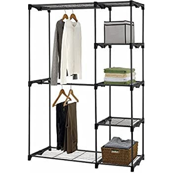 iuhome Double Rod Freestanding Closet Organizer, Silver