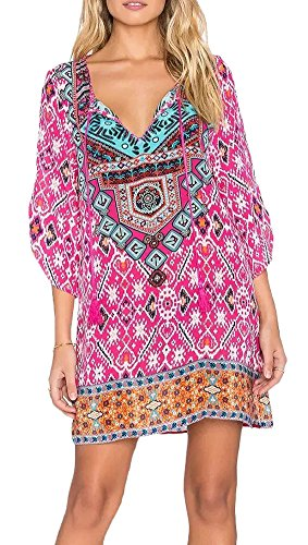 Women Bohemian Neck Tie Floral Print Ethnic Style Shift Dress (Large, Pattern 15) (Hippie Clothing compare prices)