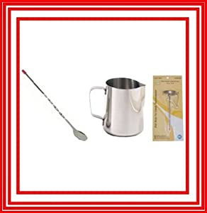 3 Pc/set: Espresso Milk Frothing Pitcher 12 Oz + Thermometer + Spoon  by Thunder Group