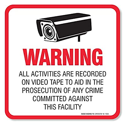 "(4 Pack) Warning Video Surveillance Sign/Decal Self Adhesive ""5½ X 5½"" 4 Mil Vinyl Decal - Indoor & Outdoor Use - Uv Protected & Waterproof - Sleek, Rounded Corners"