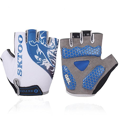 Best Adults/Youth Mountain Bike BMX Gloves Cool Elite Specialized Racer Motorcycle Biker Bicycle Gym Mtb Cycling Racing Driving Jogging Half-finger Mechanics Glove (Blue, M) (Roc Thermal compare prices)