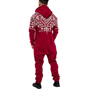 ba2f91f1d0 Men s Christmas Onesie Jumpsuit one Piece Non Footed Pajamas Unisex-Adult  Hooded Overall Zip up Playsuit ...