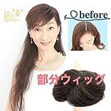 ラベルエポック 部分 かつら 人毛 100% 女性用 ウィッグ 薄毛 白髪 かくし トップ ピース (ナチュラルブラック)