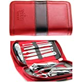 PUEEN All In One 11pc Stainless Steel Manicure & Pedicure Kit, Travel & Grooming Set, Personal Care Tools In Red...