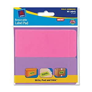 Avery Removable Label Pad, 2 x 4 Inches, Assorted Neon, 80 Labels (22021)
