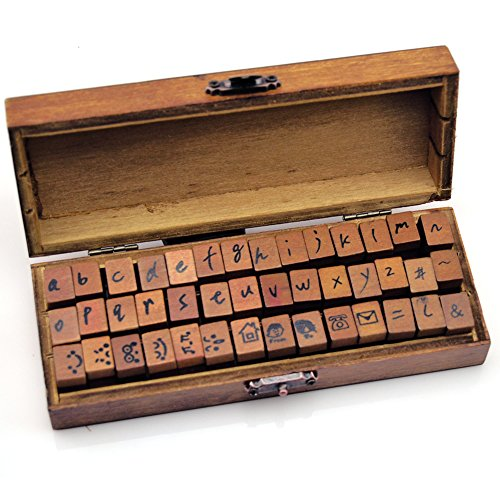 Vintage Wooden Handle Rubber Stamp Set(42-Piece ),Woodows Antique Typewriter Alphabet/LowerAn antique typewriter look for the entire alphabet on rubber stamps- (alphabet is in lowercase)