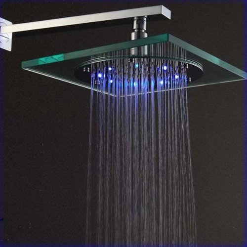 Vdomus Fanstaic 8 Inch Led Color Changing Showerhead, Wall Mount Shower, Square Rainfall Showerhead , Glass With Stainless Steel On Sale front-353738