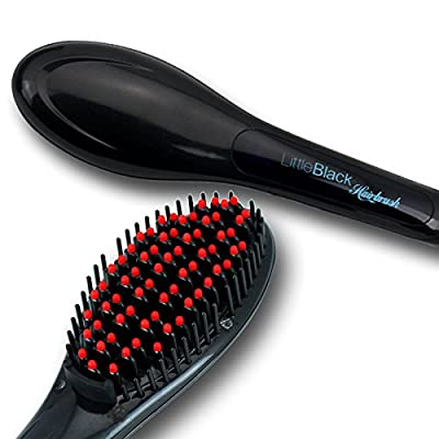LittleBlack Hairbrush Electric Ceramic Hair Straightening Brush, LCD, (US Plug)