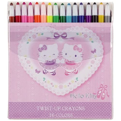 Japanese Sanrio Hello Kitty 16 Color Twist up Crayons Toys & Games