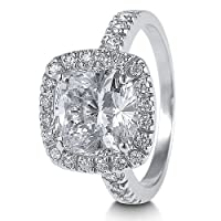 Sterling Silver Cushion Cubic Zirconia CZ Cocktail Right Hand Ring