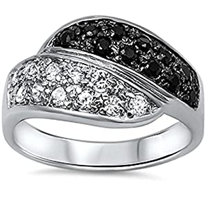 Fine Black & White Cubic Zirconia .925 Sterling Silver Ring Sizes 8