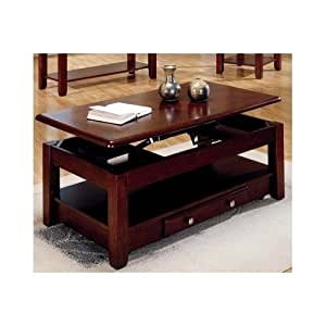 Lift Top Coffee Table In Cherry Finish With Storage Drawers And Bottom Shelf
