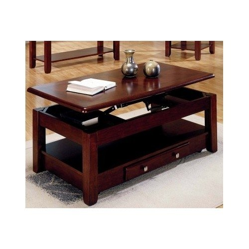Lift-top Coffee Table in Cherry Finish with Storage Drawers and Bottom Shelf