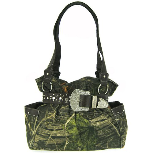 Black Belted Rhinestone Western Buckle Soft Camo Purse Camouflage Cowgirl Bag