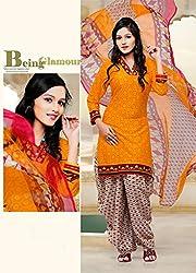 SareeShop Women's Georgette Semi-Stitched Dress Material (B2B1067_Orange_Free Size)