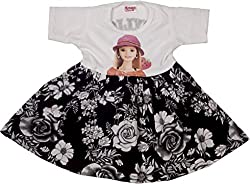 Retaaz Baby-Girls' Frock (Rkgf48, White and Black, 3-6 Months)