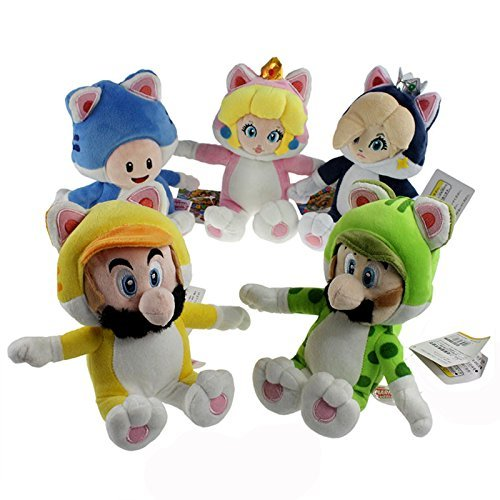 One Set of 5 Super Mario 3D World Plush Toys Cat Mario Luigi Princess Peach Rosalina Toad Stuffed Animal Soft Figure with a Free Super Mario Badge as Gift