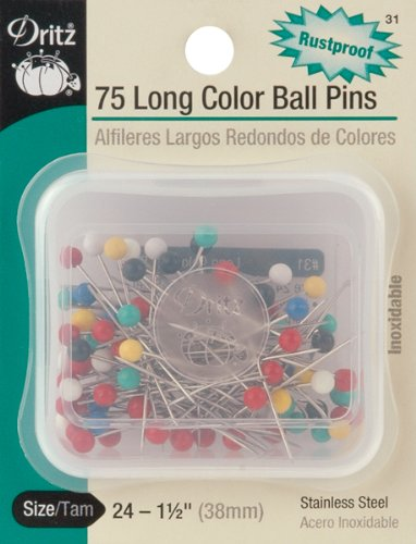 Dritz 75-Piece Long Color Ball Pins, 1-1/2-Inch