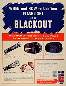 1942 Ad Blackout Flashlight Eveready Battery National Carbon Civil Defense WWII - Original Print Ad